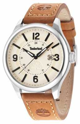 Timberland Mens Brown Leather Strap Beige Dial 14645JS/07