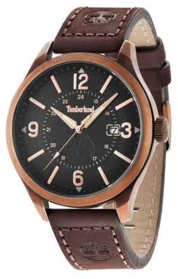 Timberland Mens Brown Leather Strap Black Dial 14645JSQR/02