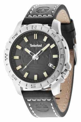Timberland Mens Black Leather Strap Black Dial 14647JS/02