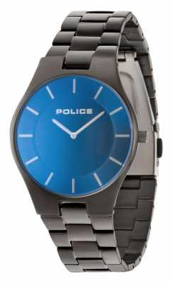 Police Mens cinturino in grigio quadrante blu 14640MSU/70M
