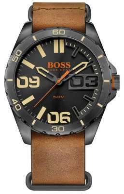 Hugo Boss Orange Mens Brown Leather Strap Black Case 1513316