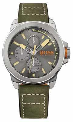 Hugo Boss Orange Mens Green Leather Strap Grey Dial 1513318