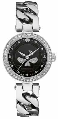 Harley Davidson Womens Round Black Dial 76L178