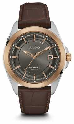 Bulova Mens Brown Strap Grey Dial Rose Gold Case 98B267