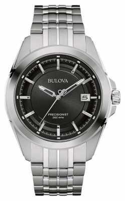 Bulova Mens Stainless Steel Silver Strap Black Dial 96B252