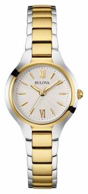 Bulova Womens Two Tone Strap White Dial 98W221