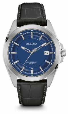 Bulova Mens Blue Dial Black Leather Strap 96B257