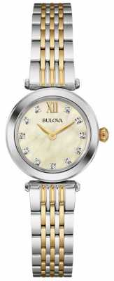 Bulova Womens Two Tone Strap Mother Of Pearl Dial 98S154
