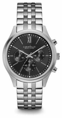 Caravelle New York Mens Silver Strap Black Chronograph Dial 43A133