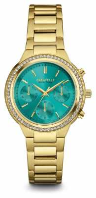 Caravelle New York Womens Gold Tone Strap Green Dial 44L215