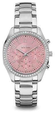 Caravelle New York Womens Silver Strap Pink Chronograph Dial 43L191
