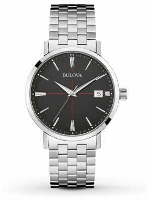 Bulova Mens Silver Strap Black Dial 96B244