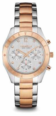 Caravelle New York Womens Two Tone Strap Silver Chronograph Dial 45L156