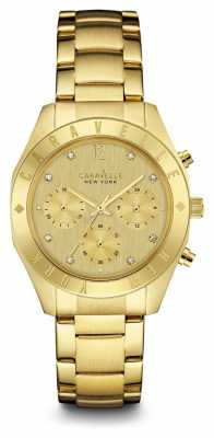 Caravelle New York Womens Gold Chronograph Dial Gold Strap 44L213