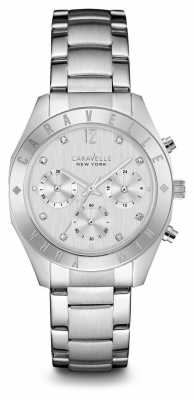 Caravelle New York Womens Silver Strap Silver Chronograph 43L190