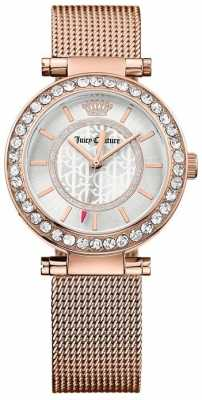 Juicy Couture Womens Rose Gold Plated Strap White Dial 1901374