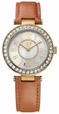 Juicy Couture Womens Brown Leather Strap Round White Dial 1901397