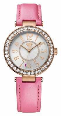Juicy Couture Womens Pink Leather Strap Round White Dial 1901398