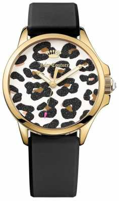 Juicy Couture Womens Brown Leather Strap Leopard Print Dial 1901342