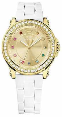 Juicy Couture Womens White Strap Gold Dial Gold Case 1901238
