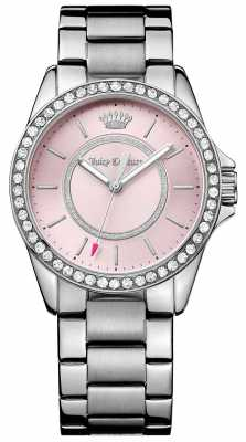 Juicy Couture Womens Silver Metal Strap Pale Pink Dial 1901408