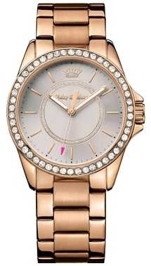Juicy Couture Womens Rose Gold Metal Strap Grey Dial 1901410