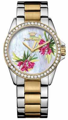 Juicy Couture Womens Two Tone Strap Flower Dial 1901425