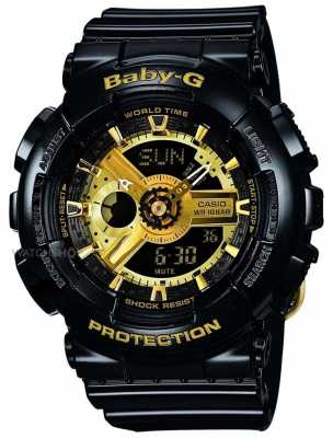 Casio Baby G Black And Gold Alarm Chronograph BA-110-1AER