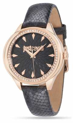 Just Cavalli Womens Black Leather Watch R7251571501