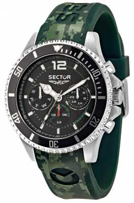 Sector 43mm Case Multifunction Black Dial Green R3251161024