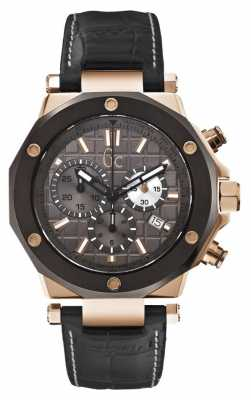 Gc Mens Gc-3 Chronograph Black Leather Strap X72024G5S