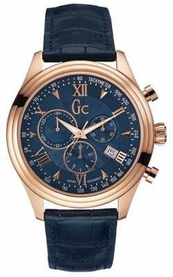 Gc Mens Gc Smartclass Chronograph Blue Leather Y04008G7