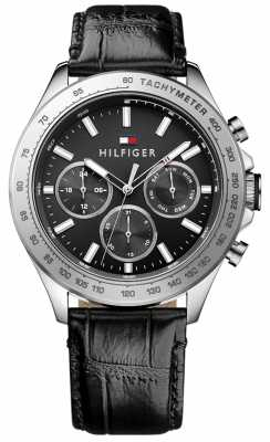 Tommy Hilfiger Mens Hudson Black Leather Strap 1791224