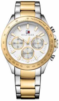 Tommy Hilfiger Mens Hudson Two Tone Bracelet White Dial 1791226