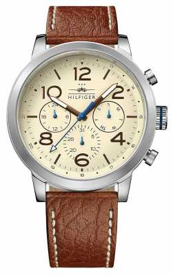 Tommy Hilfiger Mens Jake Brown Leather Strap Cream Dial 1791230