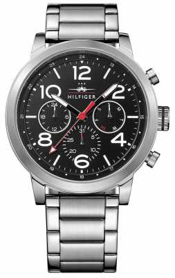 Tommy Hilfiger Mens Jake Stainless Steel Black Dial 1791234