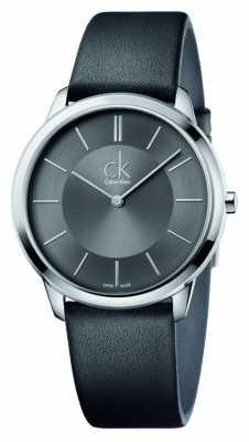 Calvin Klein Mens Minimal Black Leather Strap K3M211C4