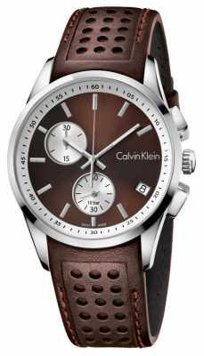 Calvin Klein Mens Bold Chronograph Brown Leather K5A371GK