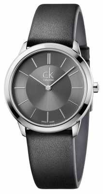 Calvin Klein Mens Minimal Watch Black Leather Strap K3M221C4