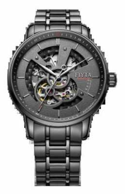 FIYTA Mens Black Stainless Steel Bracelet GA8486.BBB