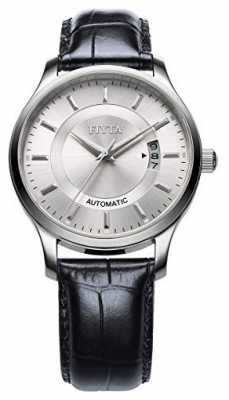 FIYTA Mens Black Leather Strap Round Silver Dial GA8426.WWB