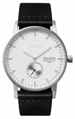 Triwa Mens Falken Black Leather Strap White Dial FAST103-CL010112