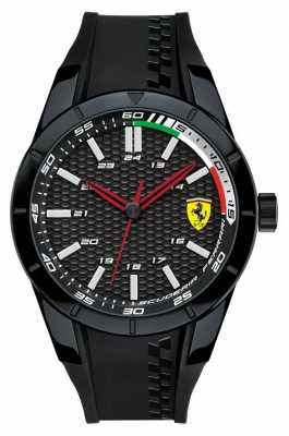 Scuderia Ferrari Mens Black Rubber Strap Black Dial 0830301