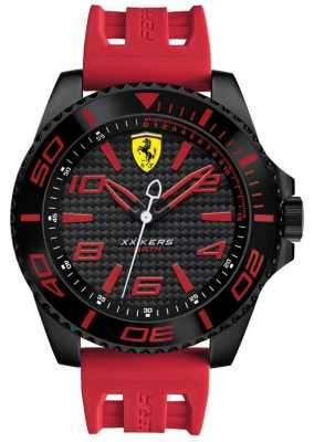 Scuderia Ferrari Mens Red Rubber Strap Black Dial 0830308