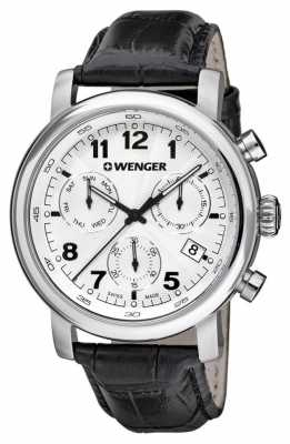 Wenger Mens Classic Silver Dial Black Leather Strap 01.1043.109