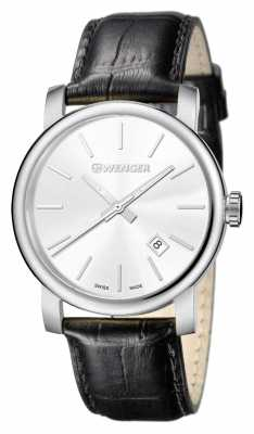 Wenger Mens Urban Vintage Silver Dial Leather Strap 01.1041.122
