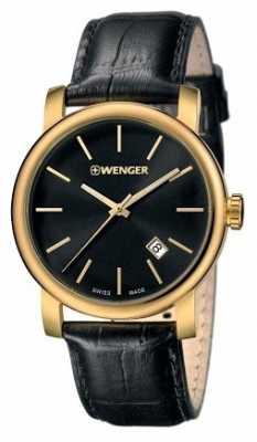 Wenger Mens Urban Vintage Black Dial Leather Strap 01.1041.123