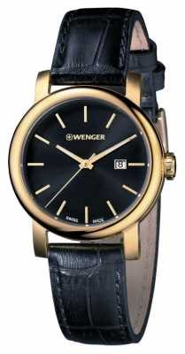 Wenger Mens Urban Vintage Black Dial Leather Strap 01.1041.123