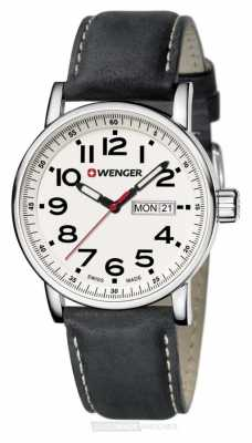 Wenger Mens Attitude White Dial Black Leather Strap 01.0341.101