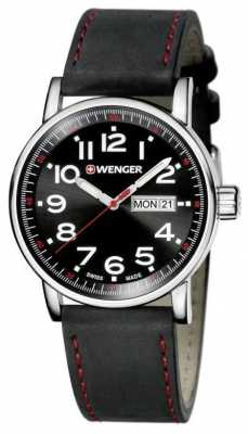 Wenger Mens Attitude Black Dial Black Leather Strap 01.0341.103